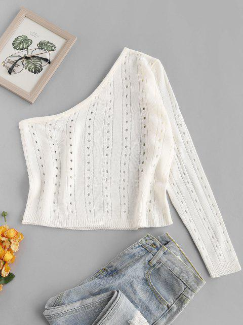 lady One Shoulder Pointelle Knit Jumper Sweater - WHITE ONE SIZE Mobile