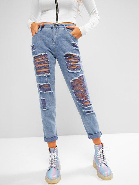 best Mid Rise Destroyed Tapered Jeans - DENIM BLUE M Mobile