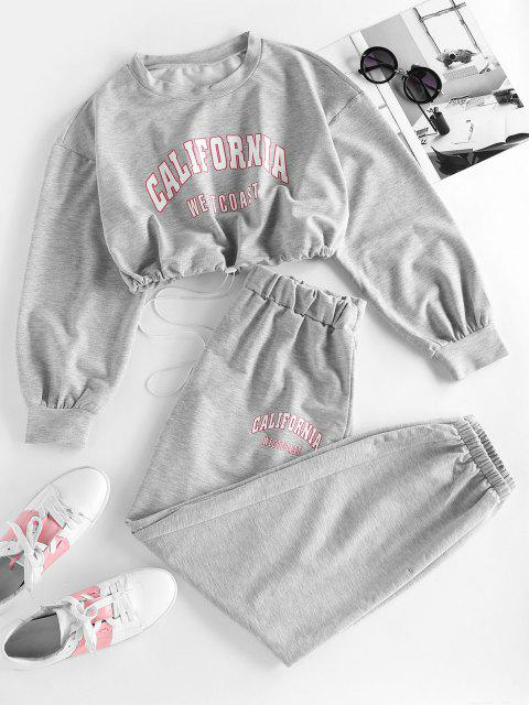 fancy ZAFUL Letter Drop Shoulder Toggle Drawstring Joggers Set - GRAY L Mobile