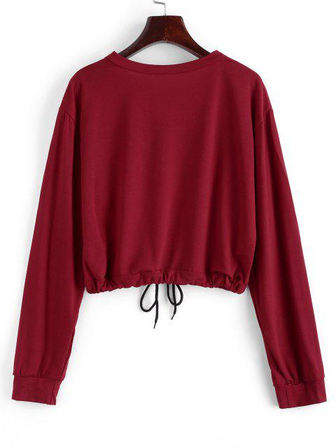 Drawstring Do You Love Me Graphic Short Sweatshirt - أحمر S Mobile