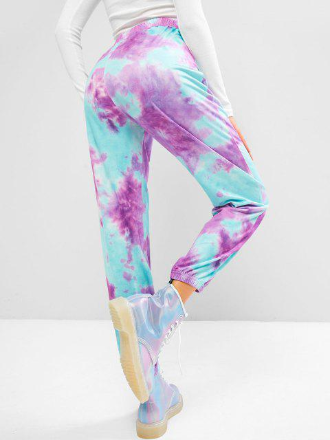lady High Waisted Tie Dye Butterfly Jogger Sweatpants - LIGHT PURPLE L Mobile