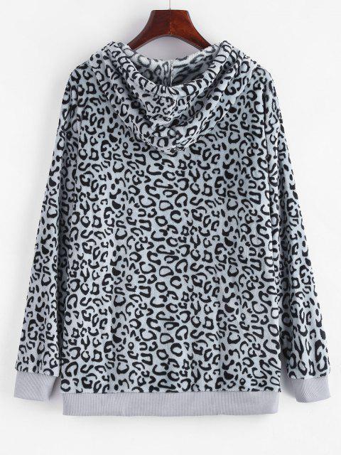 Leopard Kangaroo Pocket Plush Faux Fur Hoodie - اللون الرمادي L Mobile