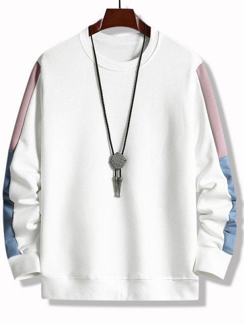 Farbblock Panel Rundhalsausschnitt Sweatshirt - Weiß M Mobile