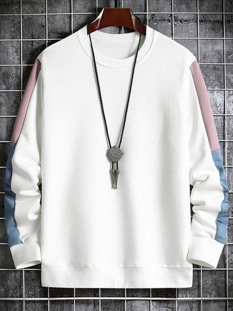 Sudadera con Cuello Redondo de Panel de Color Bloque - Blanco S Mobile