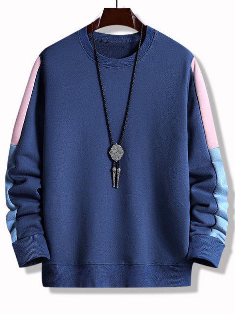 Farbblock Panel Rundhalsausschnitt Sweatshirt - Tiefes Blau XS Mobile