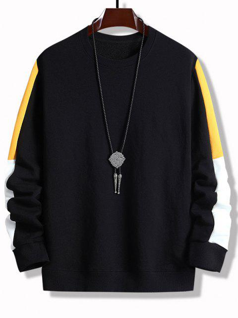 ladies Colorblock Panel Crew Neck Sweatshirt - BLACK S Mobile