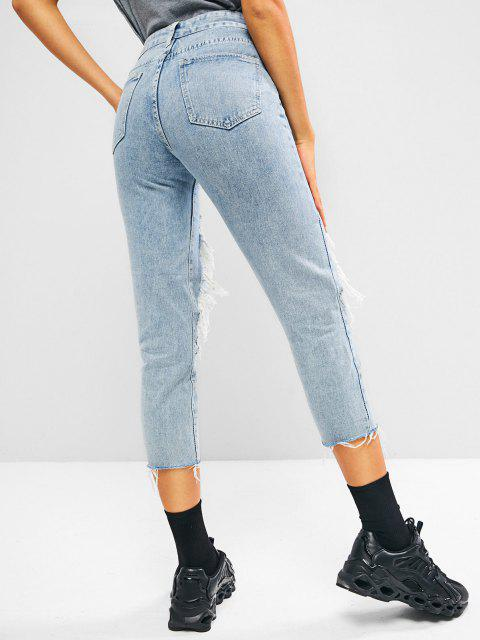 affordable Ripped Cut Out Raw Hem Light Wash Jeans - LIGHT BLUE S Mobile