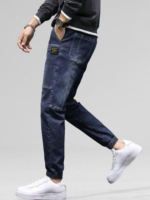 Jeans Rotos Bolsillos Parchados - Lapislázuli 38 Mobile