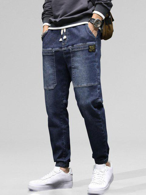 trendy Pocket Patch Applique Drawstring Jogger Jeans - LAPIS BLUE 32 Mobile