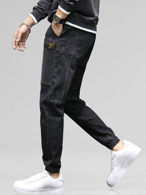 unique Pocket Patch Applique Drawstring Jogger Jeans - GRAPHITE BLACK 38 Mobile