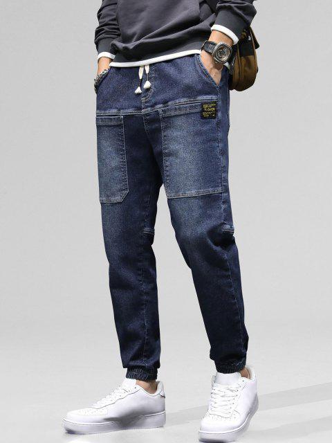 sale Pocket Patch Applique Drawstring Jogger Jeans - LAPIS BLUE 36 Mobile