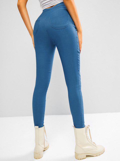 buy Colored Plain High Waisted Leggings - LIGHT BLUE M Mobile