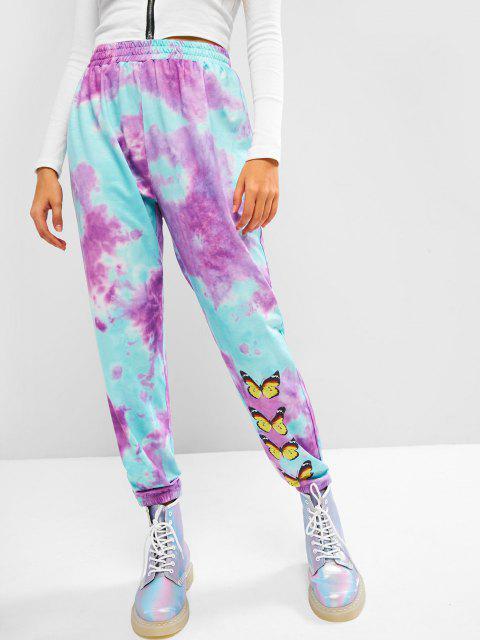 womens High Waisted Tie Dye Butterfly Jogger Sweatpants - LIGHT PURPLE M Mobile