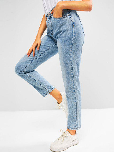 outfit ZAFUL Embroidered Faded High Rise Mom Jeans - DEEP BLUE M Mobile