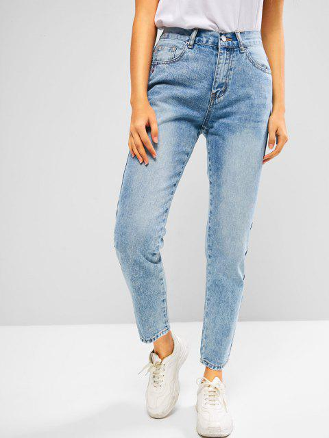 fashion ZAFUL Embroidered Faded High Rise Mom Jeans - DEEP BLUE L Mobile