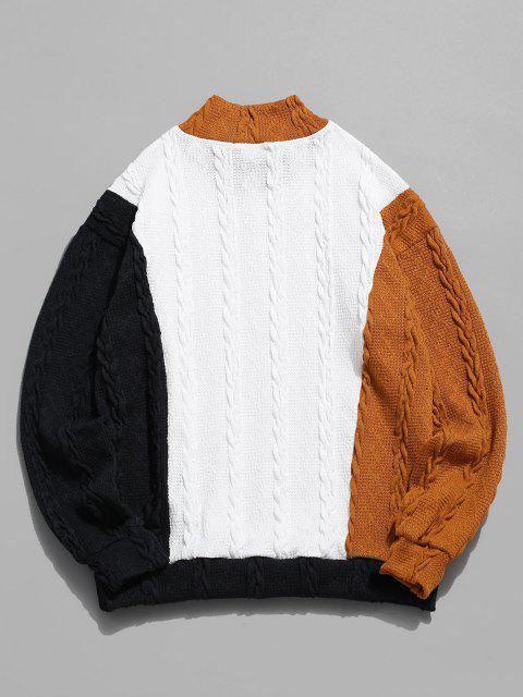 shop ZAFUL Cable Knit Colorblock Panel Sweater - MULTI S Mobile