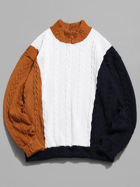 shops ZAFUL Cable Knit Colorblock Panel Sweater - MULTI M Mobile