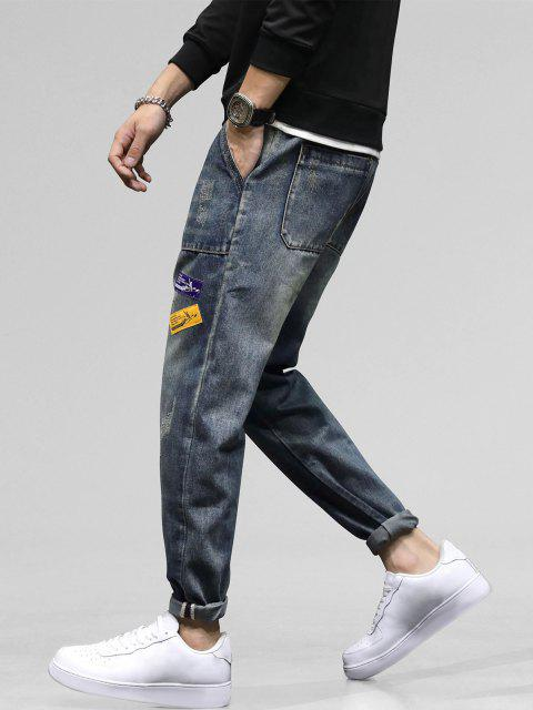 women's Long Scratch Patchwork Straight Jeans - BLUE GRAY 38 Mobile
