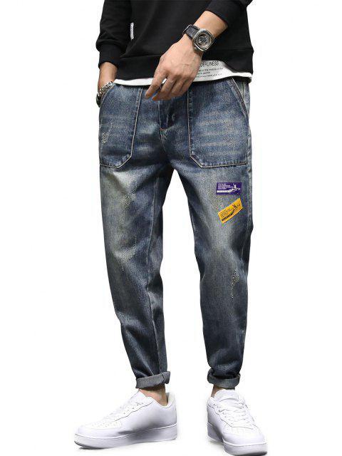Jeans Rectos de Remiendo Largo - Gris Azulado 36 Mobile