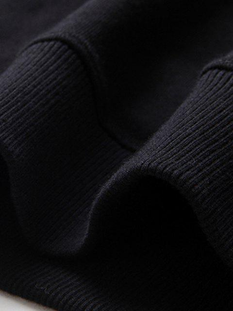 Sweat-shirt Graphique Slogan Imprimé Contrasté - Noir S Mobile