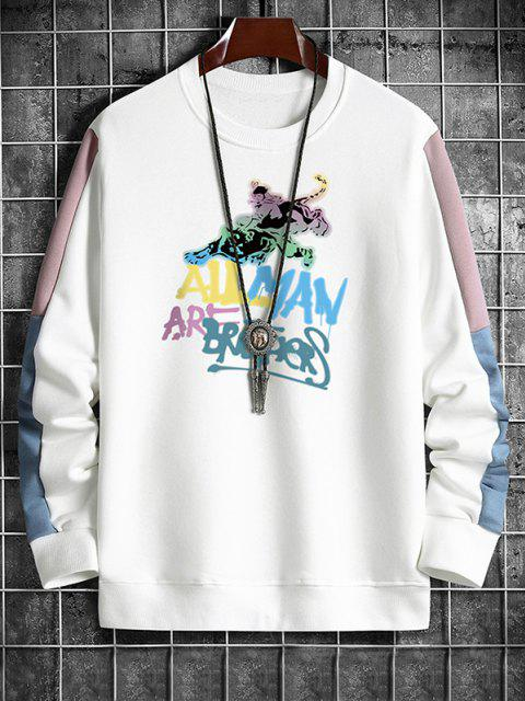 buy Graphic Print Slogan Contrast Sweatshirt - WHITE L Mobile