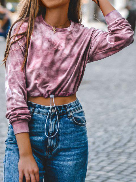 shop Lou-Ann Vecchia X ZAFUL Toggle Drawstring Drop Shoulder Crop Sweatshirt - RED XL Mobile