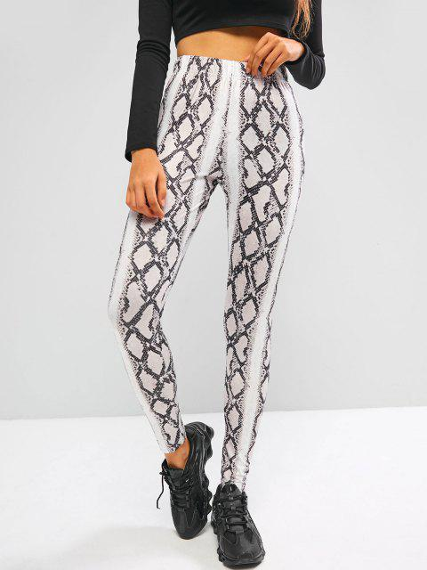 chic Snakeskin High Waisted Skinny Leggings - WHITE S Mobile