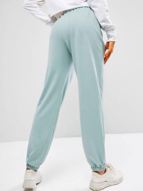ZAFUL Pantalones Deportivos Arte de Piel Sintética con Bordado de Ángel - Lirio Azul Claro XL Mobile
