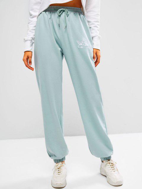 ZAFUL Pantalones Deportivos Arte de Piel Sintética con Bordado de Ángel - Lirio Azul Claro M Mobile