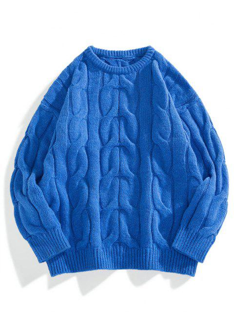 fancy Solid Cable Knit Drop Shoulder Sweater - BLUEBERRY BLUE XS Mobile