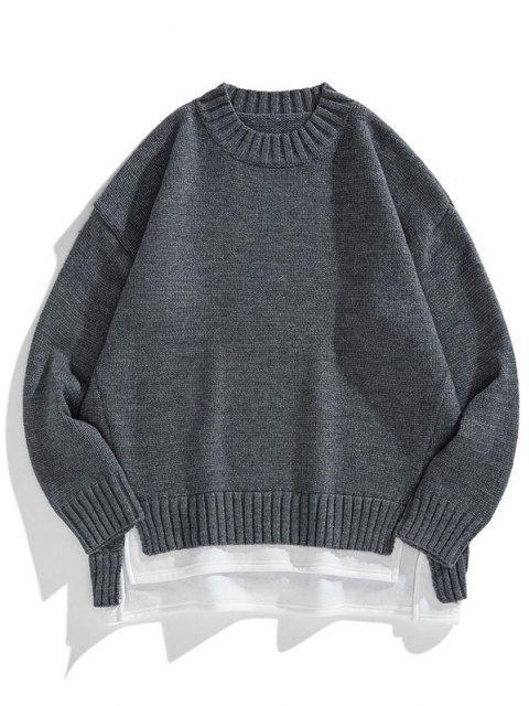online Crew Neck Colorblock Extender Sweater - CARBON GRAY 2XL Mobile