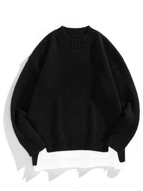 online Crew Neck Colorblock Extender Sweater - BLACK M Mobile