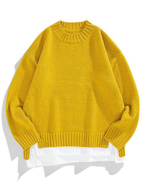 affordable Crew Neck Colorblock Extender Sweater - BEE YELLOW L Mobile