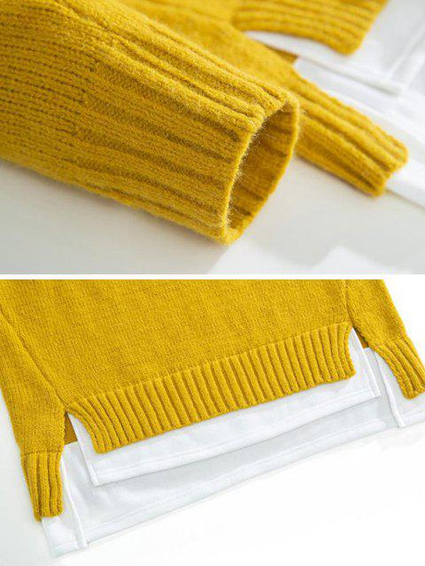 fashion Crew Neck Colorblock Extender Sweater - BEE YELLOW M Mobile