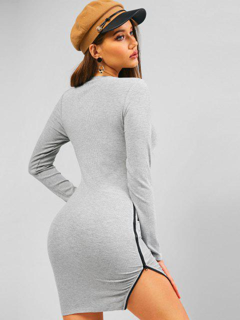 chic ZAFUL Ribbed Zip Side Long Sleeve Bodycon Dress - GRAY GOOSE M Mobile