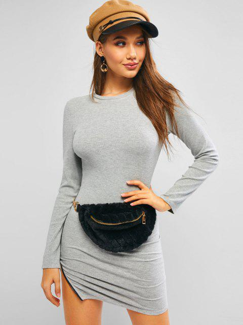 sale ZAFUL Ribbed Zip Side Long Sleeve Bodycon Dress - GRAY GOOSE S Mobile