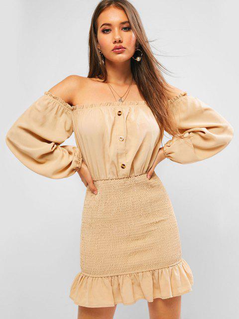 buy ZAFUL Off Shoulder Frilled Smocked Flounce Dress - BROWN SUGAR L Mobile