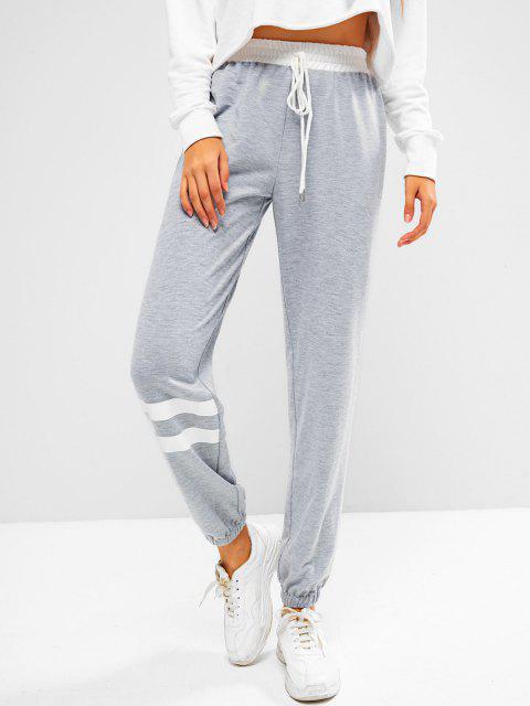 Pantaloni da Jogging a Righe con Nodo di ZAFUL - Grigio Chiaro L Mobile
