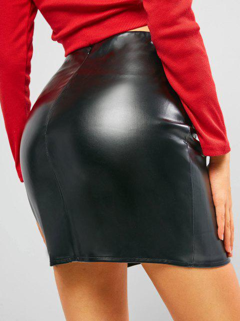buy ZAFUL Faux Leather Zipper Pelmet Skirt - BLACK S Mobile