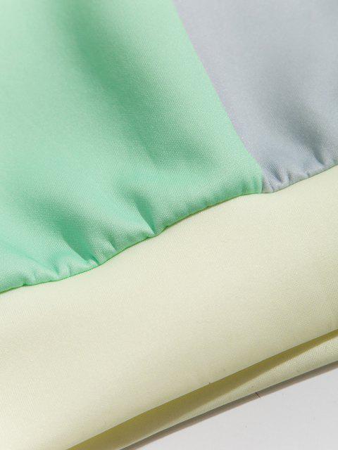 Farbblock Patch Panel Känguru Tasche Hoodie - Sonne Gelb 3XL Mobile
