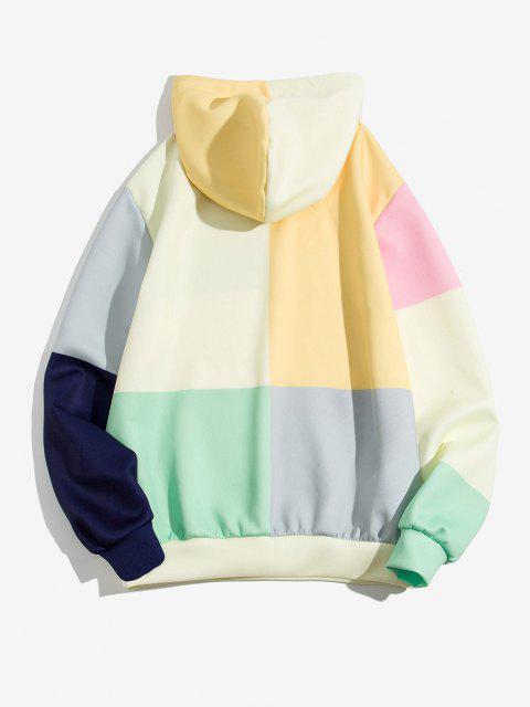 shops Colorblock Patch Panel Kangaroo Pocket Hoodie - SUN YELLOW 3XL Mobile