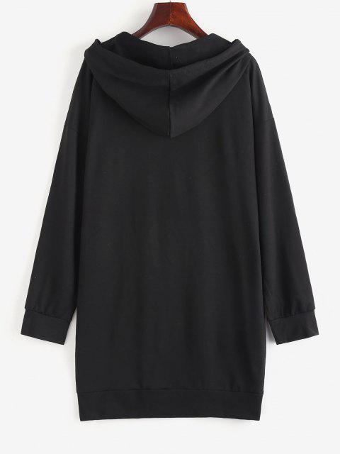 Robe à Capuche Droite Graphique à Goutte Epaule - Noir M Mobile