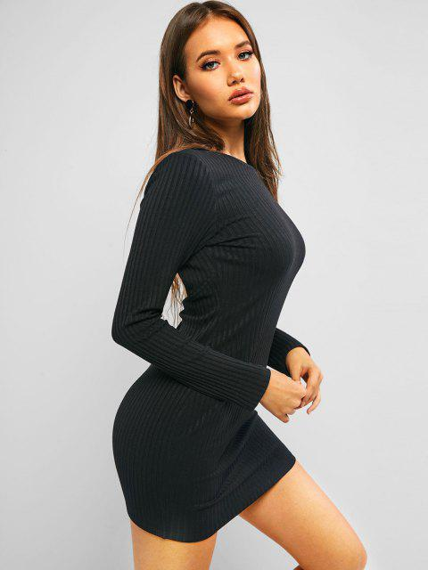 fancy ZAFUL Cutout Back Ribbed Long Sleeve Fitted Dress - BLACK XL Mobile