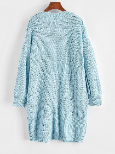 women's ZAFUL Pockets Chunky Open Front Cardigan - LIGHT BLUE ONE SIZE Mobile