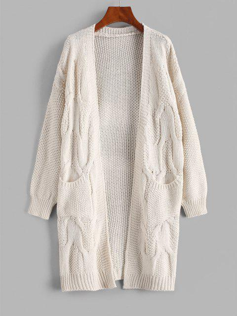 women ZAFUL Pockets Chunky Open Front Cardigan - WARM WHITE ONE SIZE Mobile
