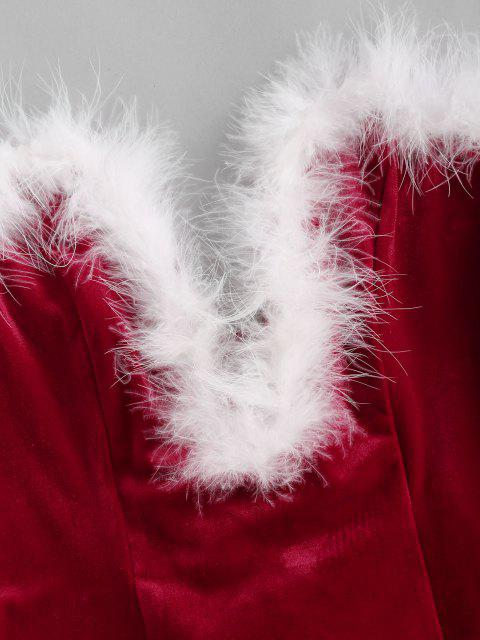 affordable ZAFUL Faux Feather Lace Up Velvet V Wired Bandeau Bodysuit - RED S Mobile
