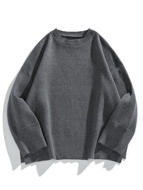 lady Drop Shoulder Solid Side Slit Knit Sweater - CARBON GRAY L Mobile