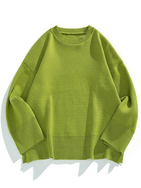 latest Drop Shoulder Solid Side Slit Knit Sweater - FERN GREEN M Mobile