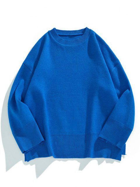 chic Drop Shoulder Solid Side Slit Knit Sweater - COBALT BLUE L Mobile