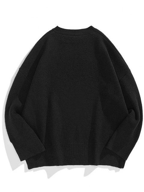 fancy Drop Shoulder Solid Side Slit Knit Sweater - BLACK XL Mobile